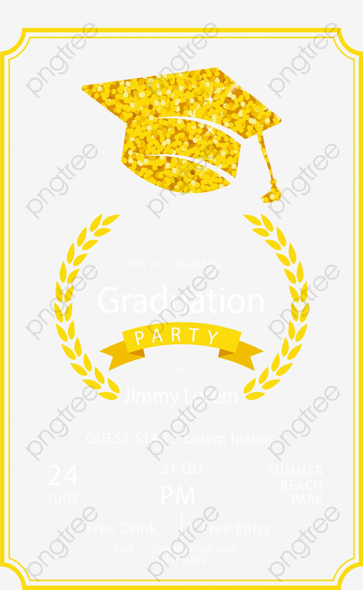 Golden Bachelor Cap Graduation Party Invitation, Vector Png, Golden.