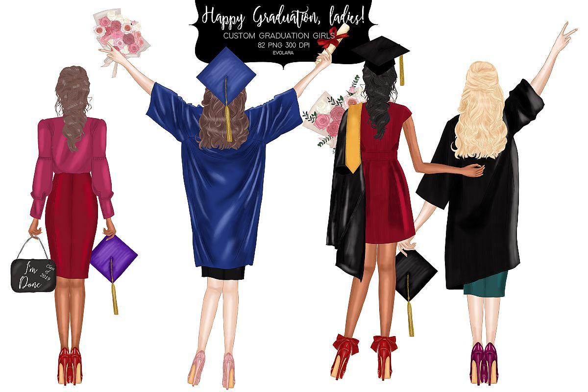 Graduation Clipart Graduating Girls Clipart Diploma Clipart.