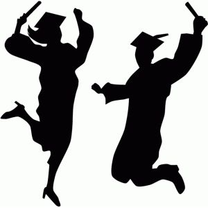 Graduation Jumping Silhouette Png.