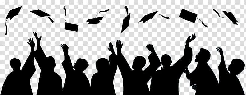 Silhouette of academic, Graduation ceremony Square academic cap.