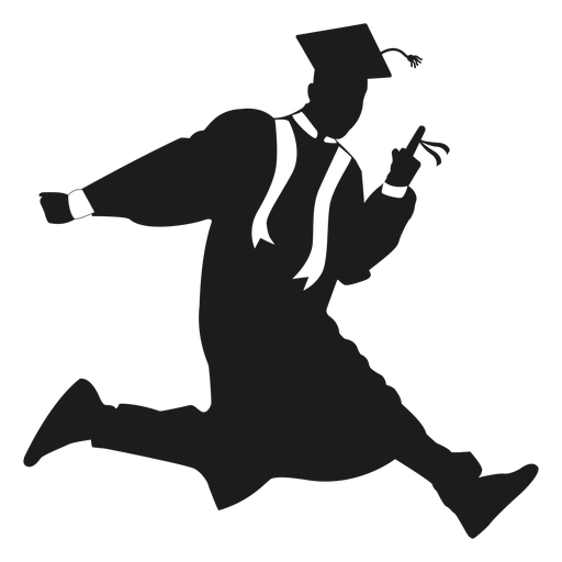 Jumping graduate holding diploma silhouette.
