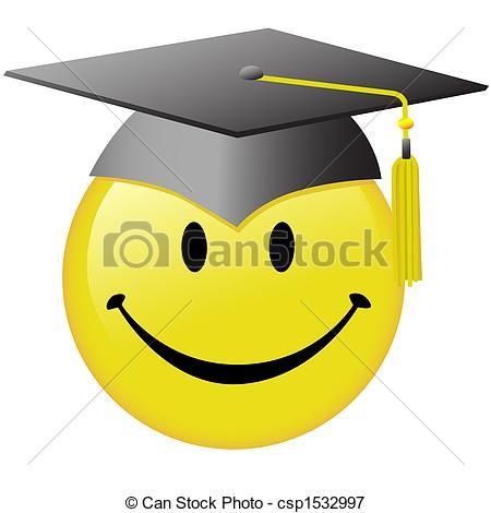 Happy Graduation Smiley Face Graduate Cap Button.