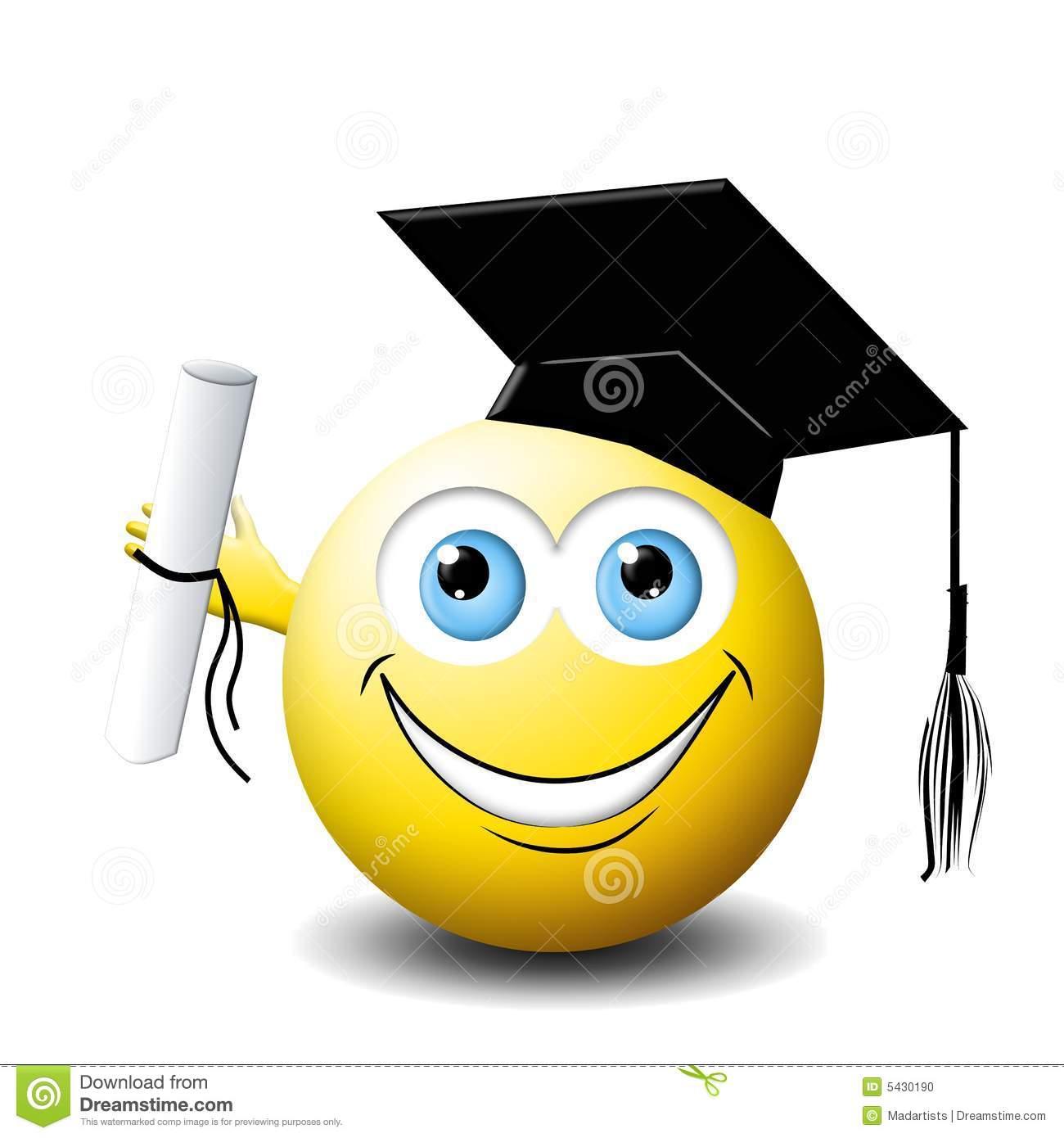 Smiley face Graduate stock illustration. Illustration of degree.