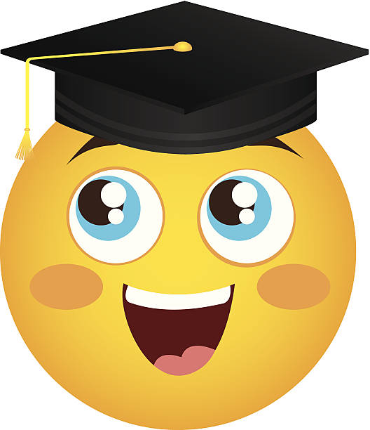 Clip Art Of A Smiley Face With Graduation Cap Illustrations, Royalty.