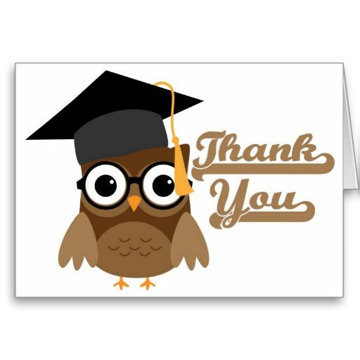 Tawny Owl with Glasses Graduation Thank You Card.