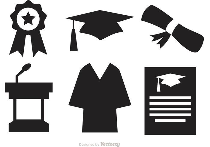 Silhouette Graduation Vector Icons.