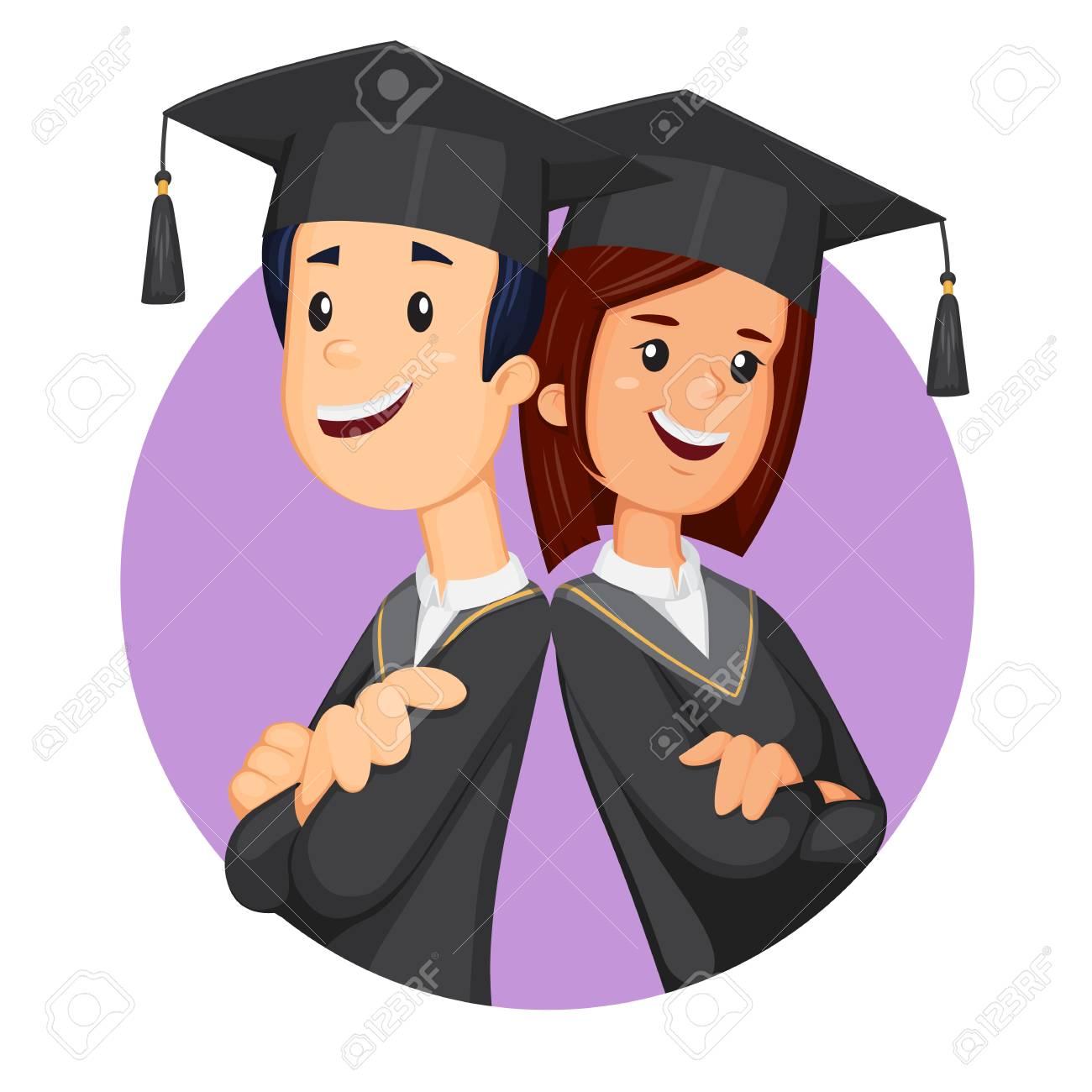 Students in graduation student cap. Smiling graduates vector.