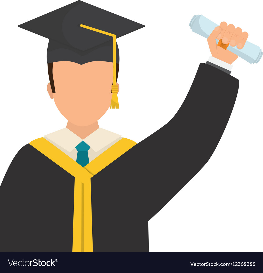 Young student graduation vector image.