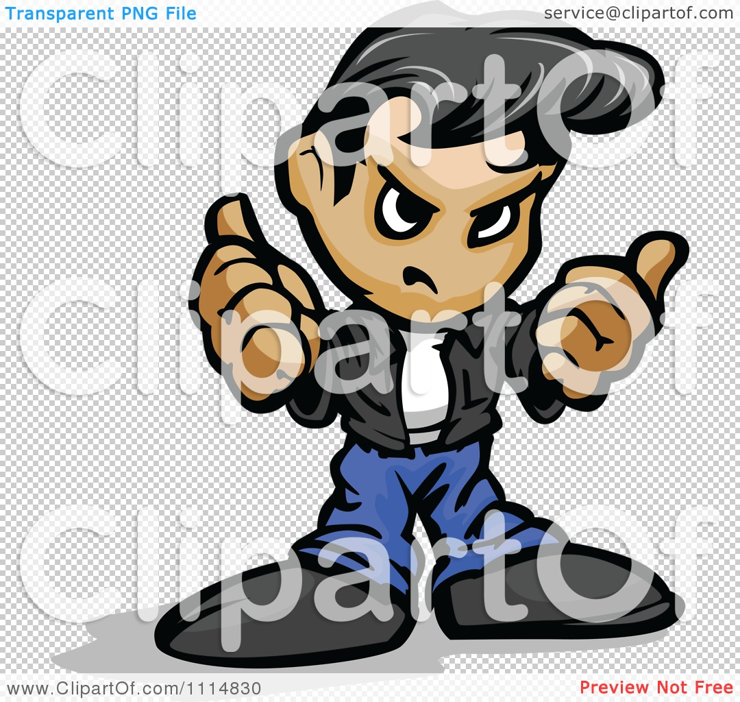 Clipart Tough Greaser Guy Holding Up His Fists.