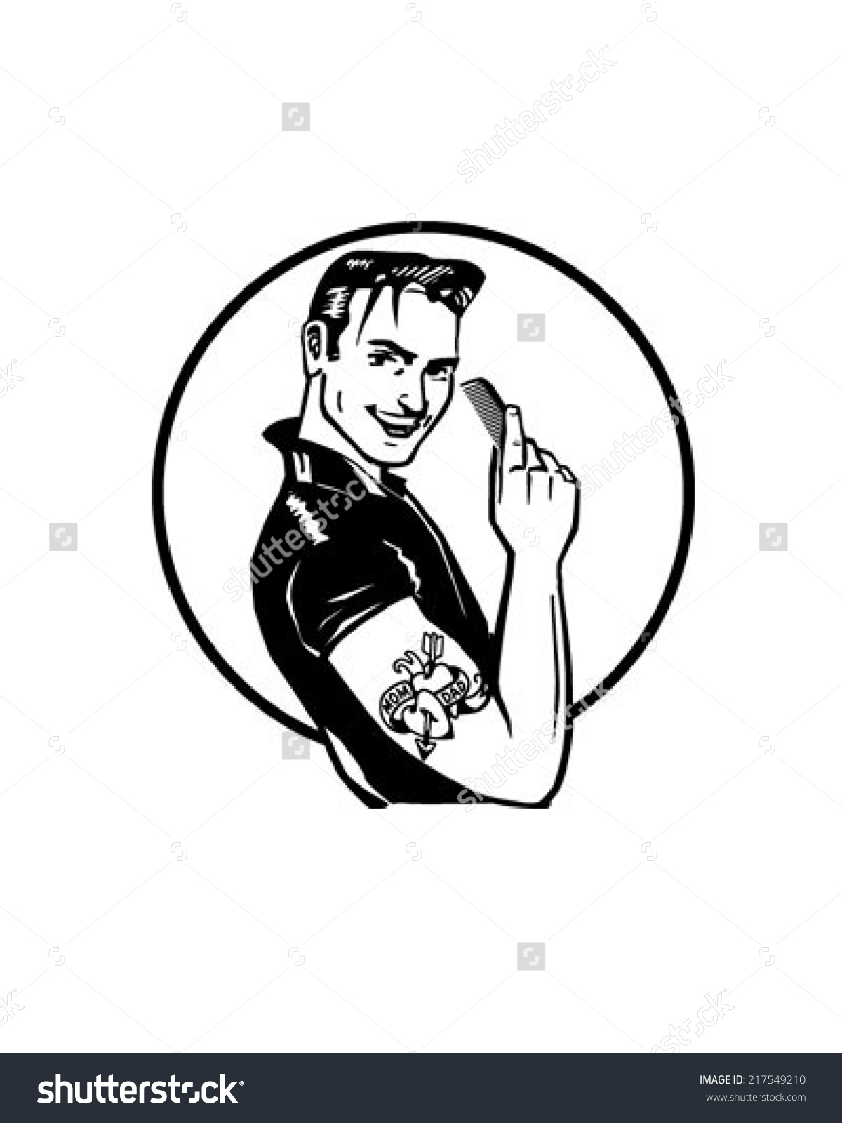 Fifties Greaser Retro Clipart Illustration Stock Vector 217549210.