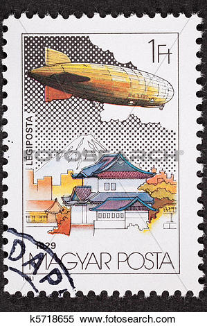 Stock Illustration of Hungarian Graf Zeppelin Air Mail Postage.