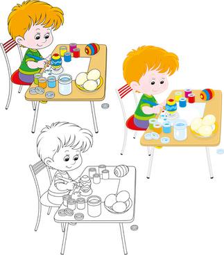 Lovely children graffiti vector Free vector in Adobe Illustrator.