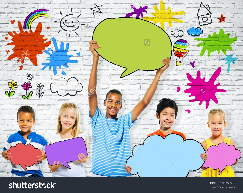 Children Holding Colorful Speech Bubbles And Happy Graffiti Stock.