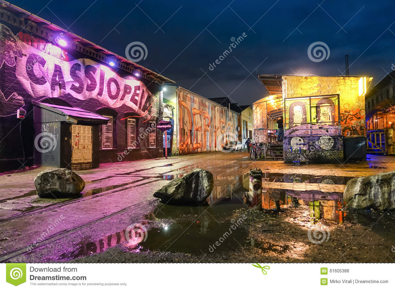 Empty Street Graffiti Background Stock Photos.