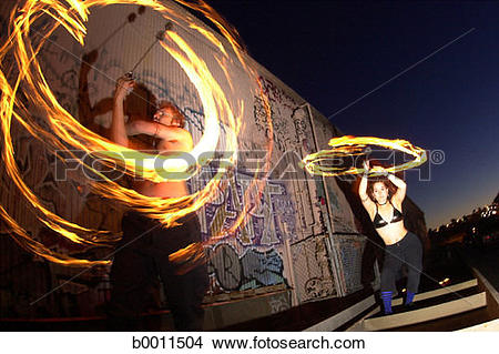 Stock Photo of circle, urban, entertain, fire, graffiti, motion.