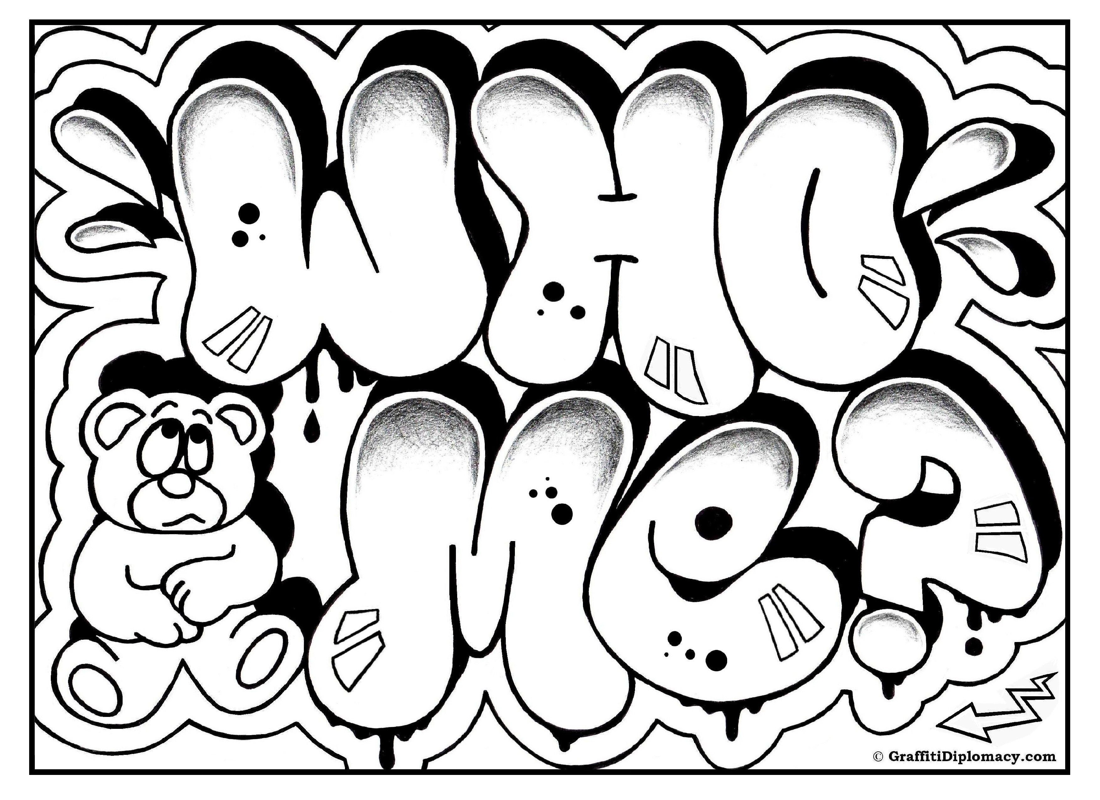Graffiti Letters Coloring Pages.