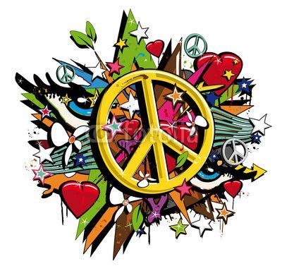 Graffiti Peace and Love symbol pop art illustration.