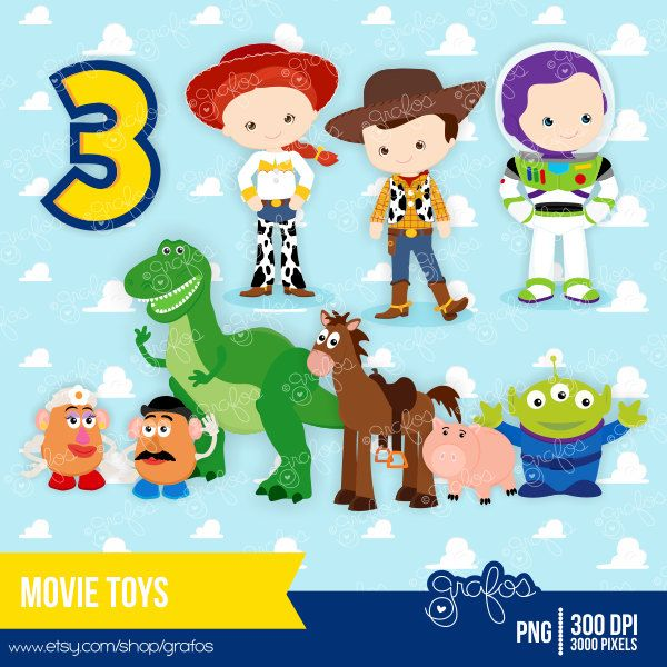 MOVIE TOYS Digital Clipart / Instant Download by grafos on Etsy.