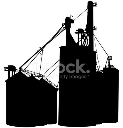 Grain Silo Silhouette Stock Vector.