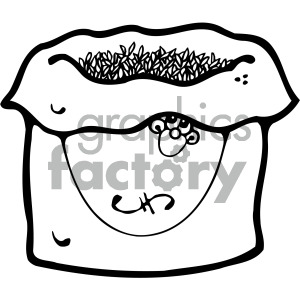 black and white cartoon bag of grains clipart. Royalty.