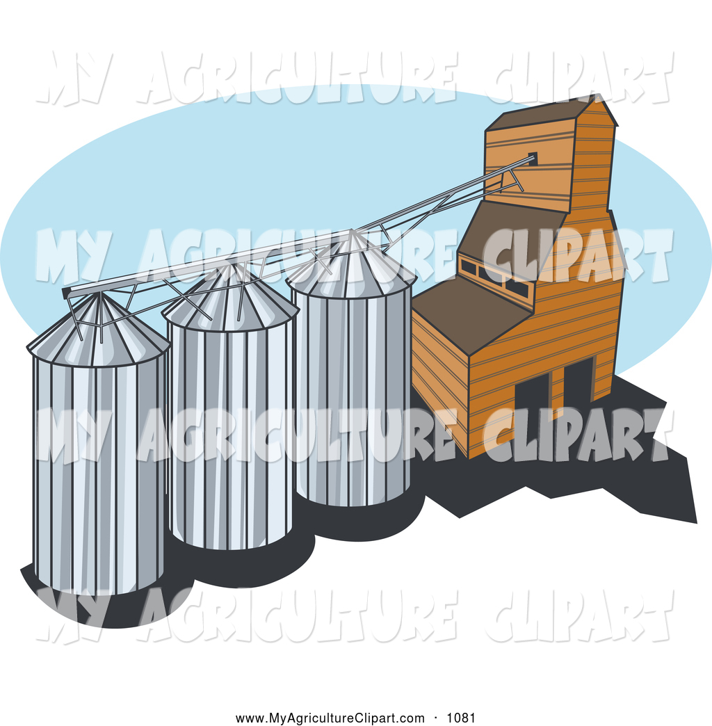 Vector Agriculture Clipart of a Farm Grain Elevator with Three.