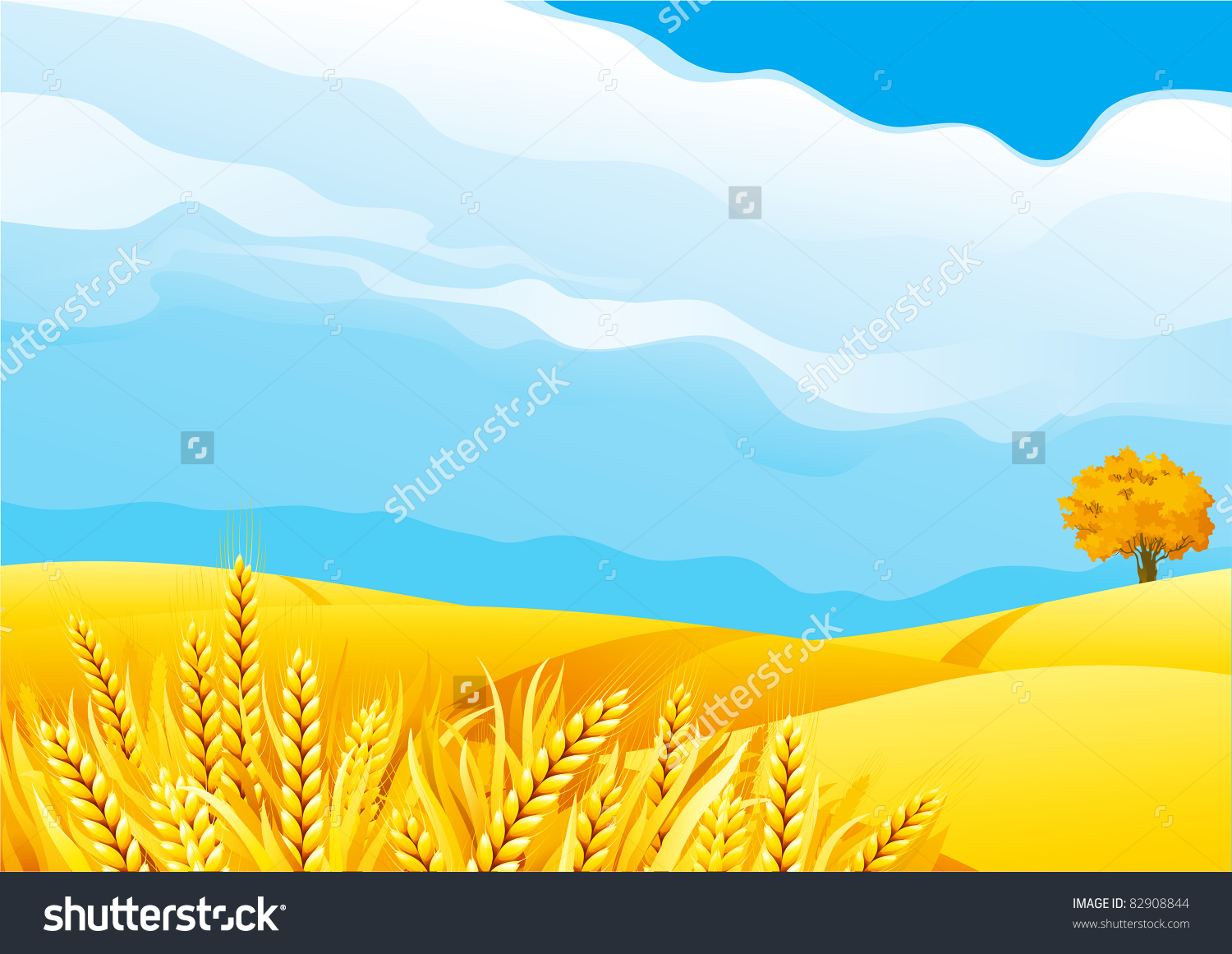 Grain Fields Fall Landscape Yellow Grain Stock Vector 82908844.