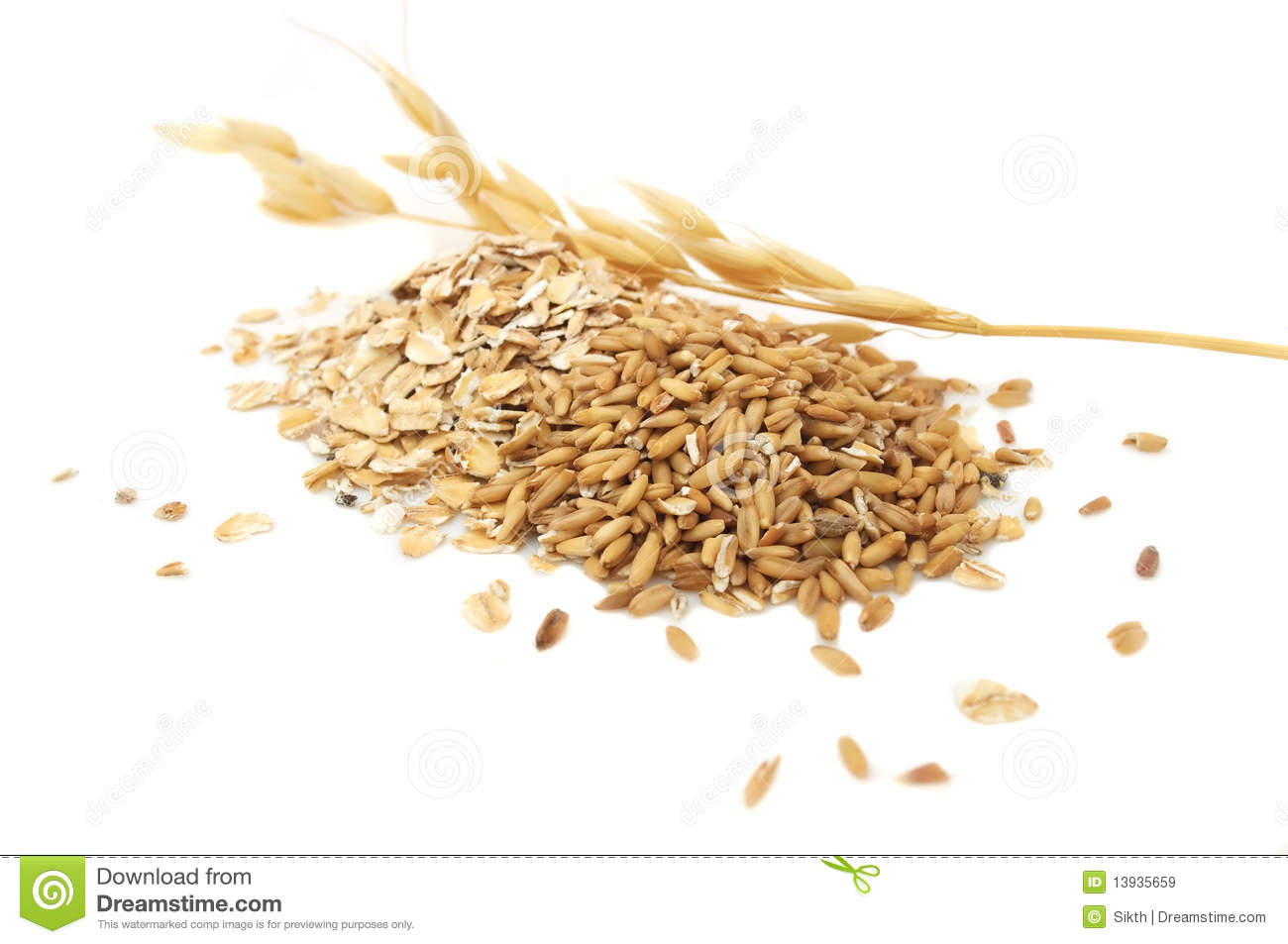 Oat Grains And Oat Flakes Royalty Free Stock Images.