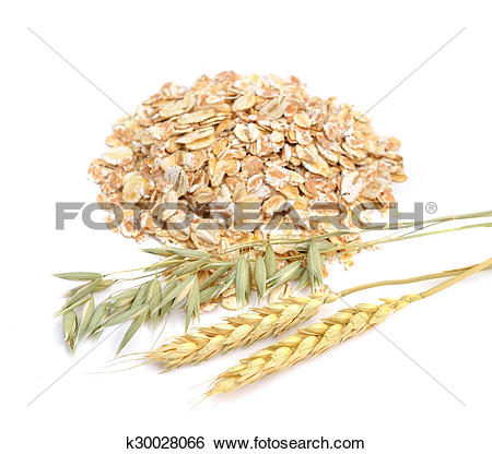 Stock Images of Oat and wheat flakes with herb. k30028066.