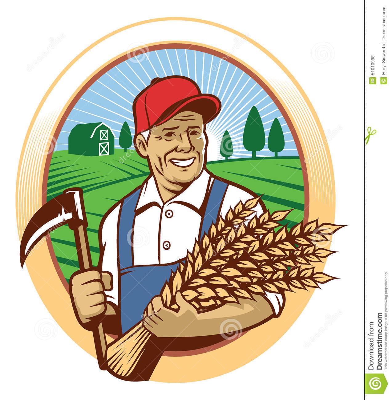 Farmer & Wheat Harvest Stock Images.