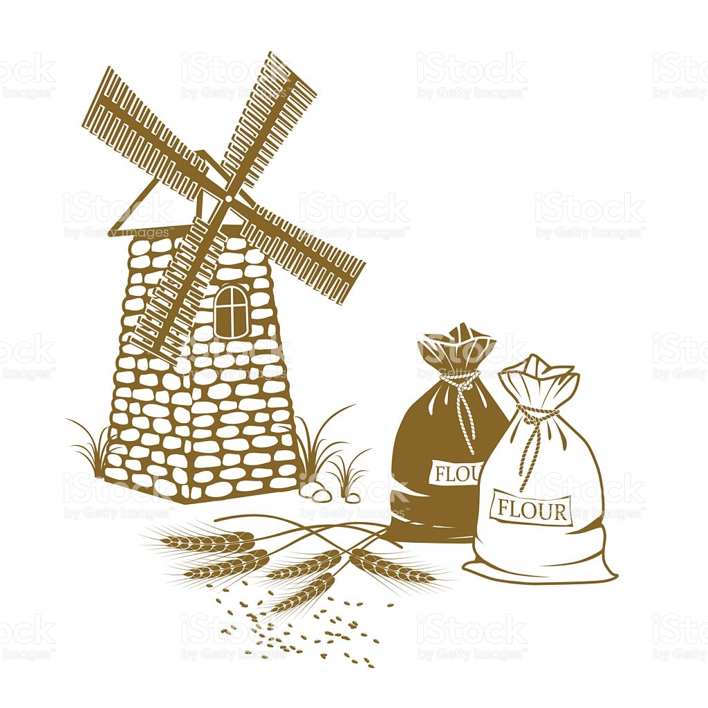 Vector Illustration Of Wheat Sacks Of Flour And Windmill stock.