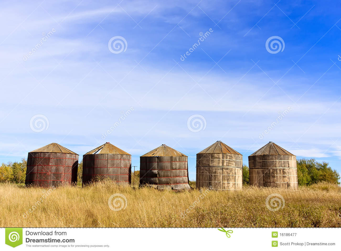 Wooden Grain Storage Bins Royalty Free Stock Photography.