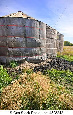 Stock Photo of Wooden Grain Storage Bins.