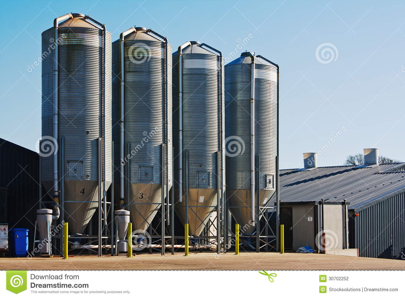 Grain Storage Bins Farm Food Silo Agricultural Property Stock.