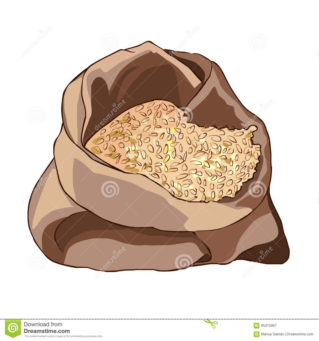 Opened Bag With A Grain Of Wheat, Half Full. Healthy Diet. Storage.