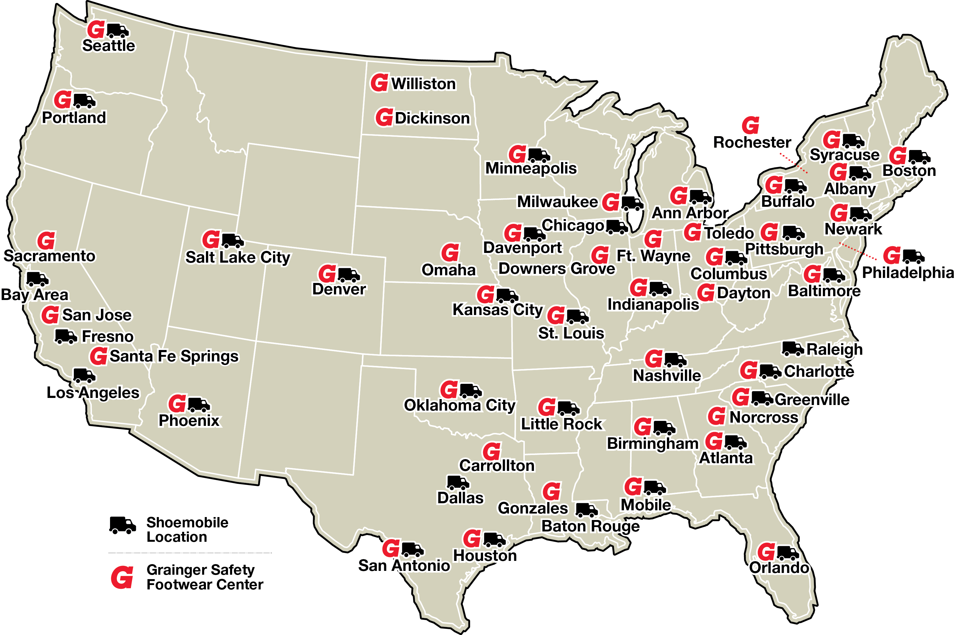 2017 Footwear Services Map Grainger Locations Map.