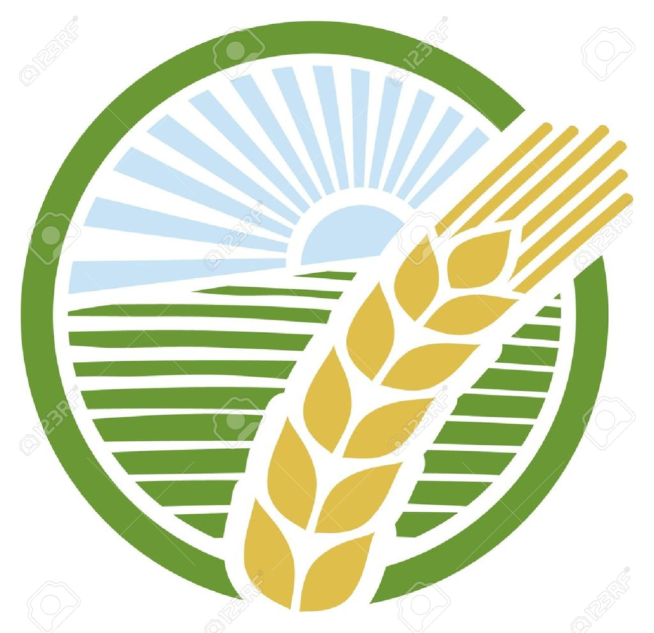 Wheat Sign, Wheat Badge, Wheat Design Royalty Free Cliparts.