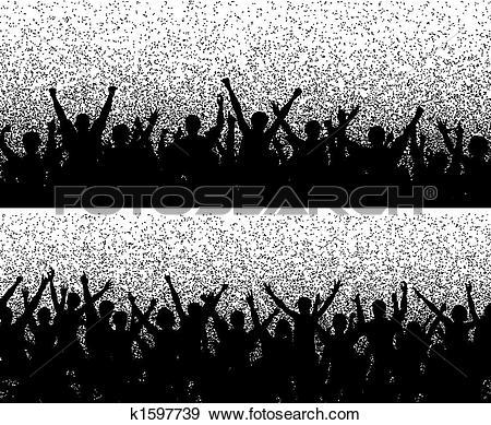 Clip Art of Grainy crowds k1597739.