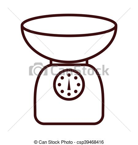 Vector Clip Art of gram scale kitchen isolated icon vector.