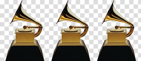 Three brown gramophones, Grammy Awards Trio transparent.