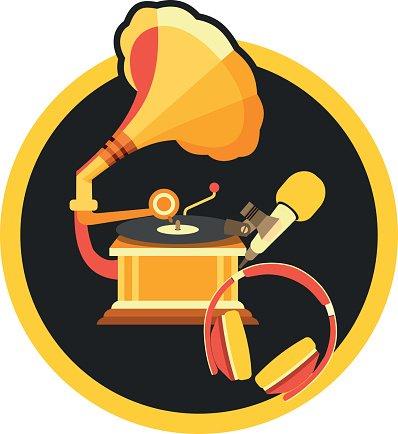 Retro müzik gramofon Clipart Image.