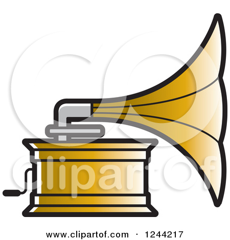 Clipart of a Silver Gramophone.