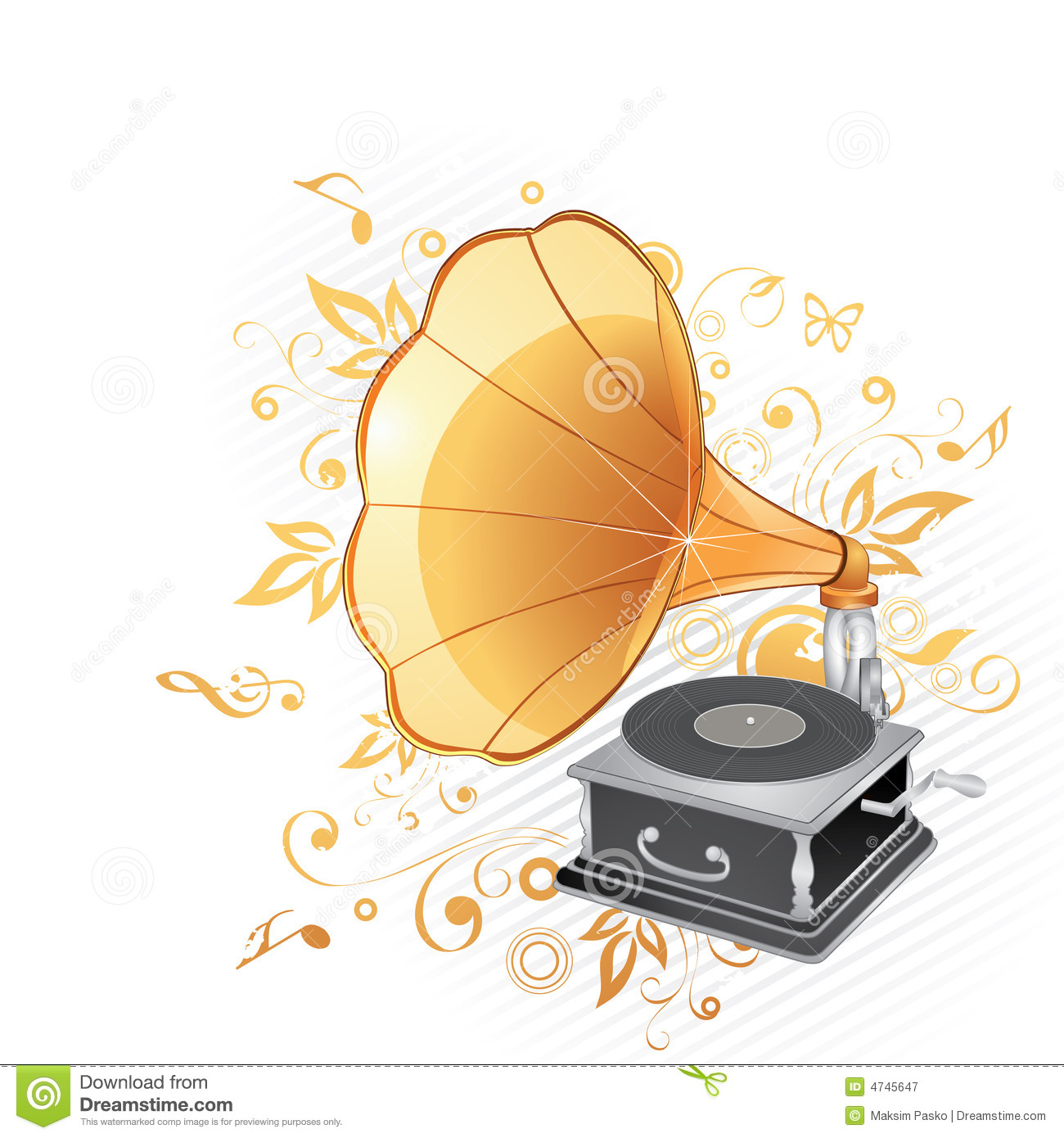 Gramophone Record Yellow Stock Illustrations.