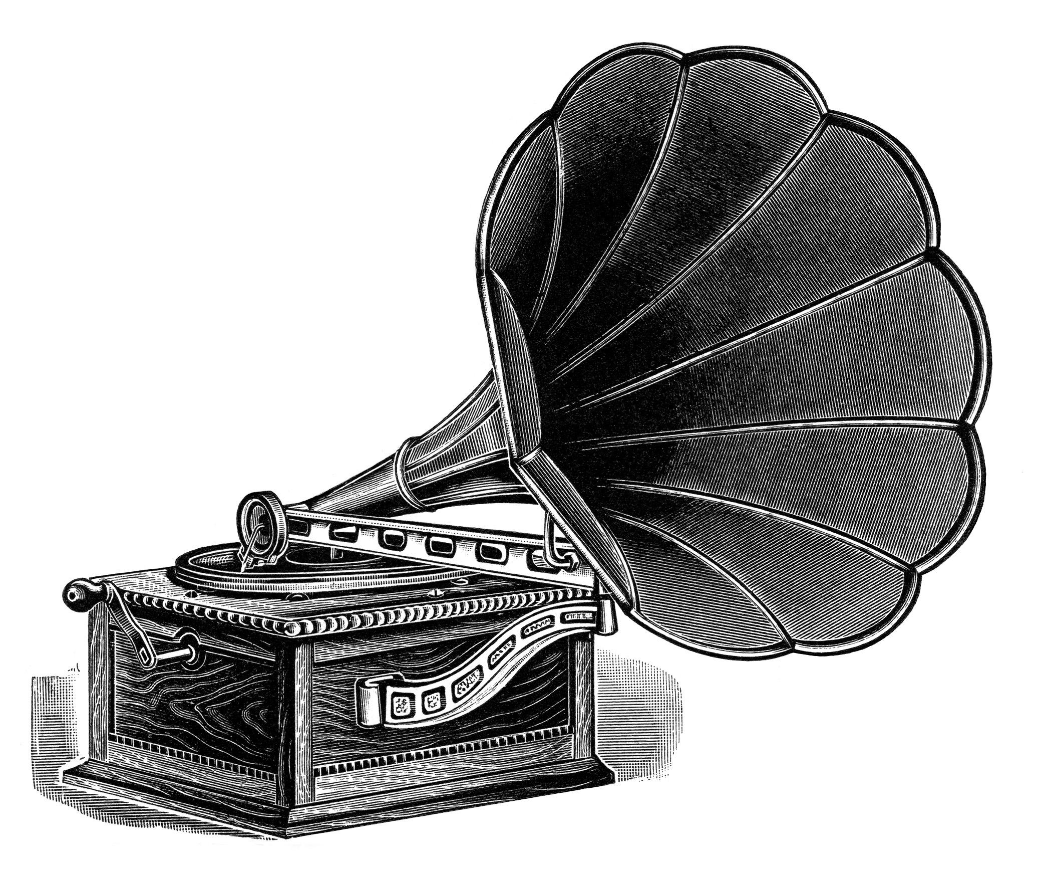 Retro record player clipart.