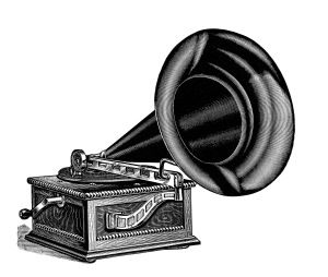 talking machine clip art, vintage gramophone image, black and.