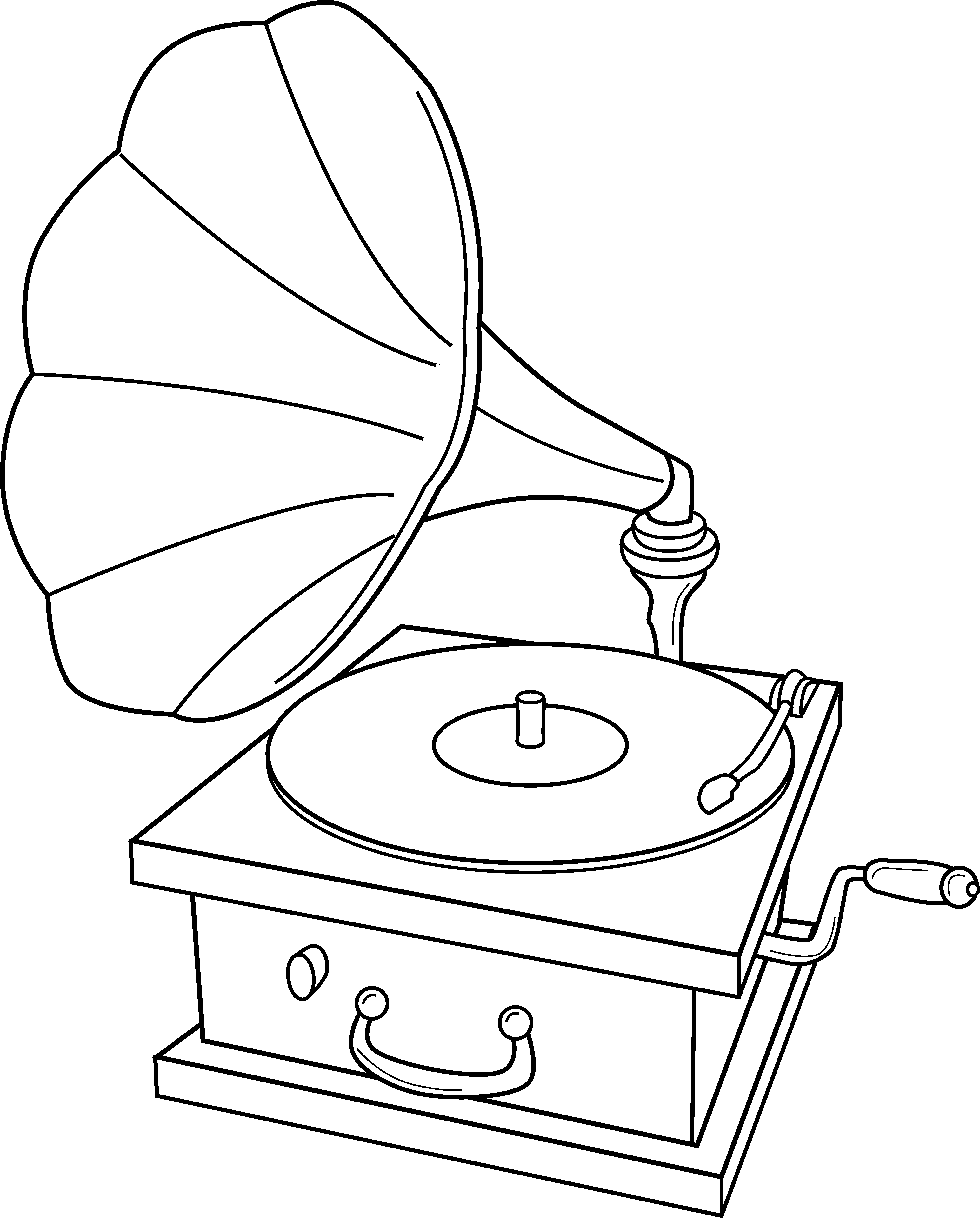 Record Player Coloring Page.