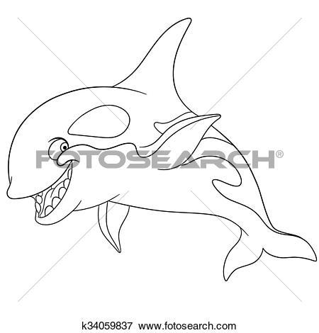 Clip Art of smiling grampus k34059837.