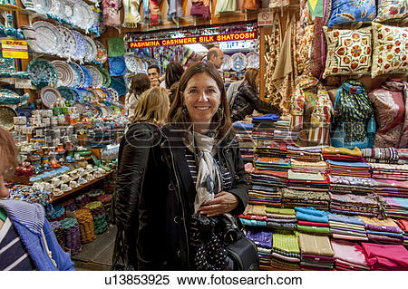 Stock Image of Woman shopping at Grand Bazaar, Istanbul, Turkey.
