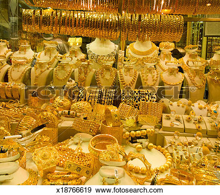 Stock Photograph of Gold jewellery for sale at Istanbul's Grand.