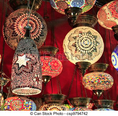 Stock Photographs of Turkish lamps in the Grand Bazaar, Istanbul.