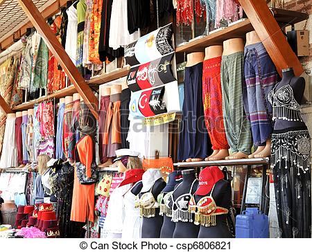 Stock Photography of Belly dancing attire clothes stall.